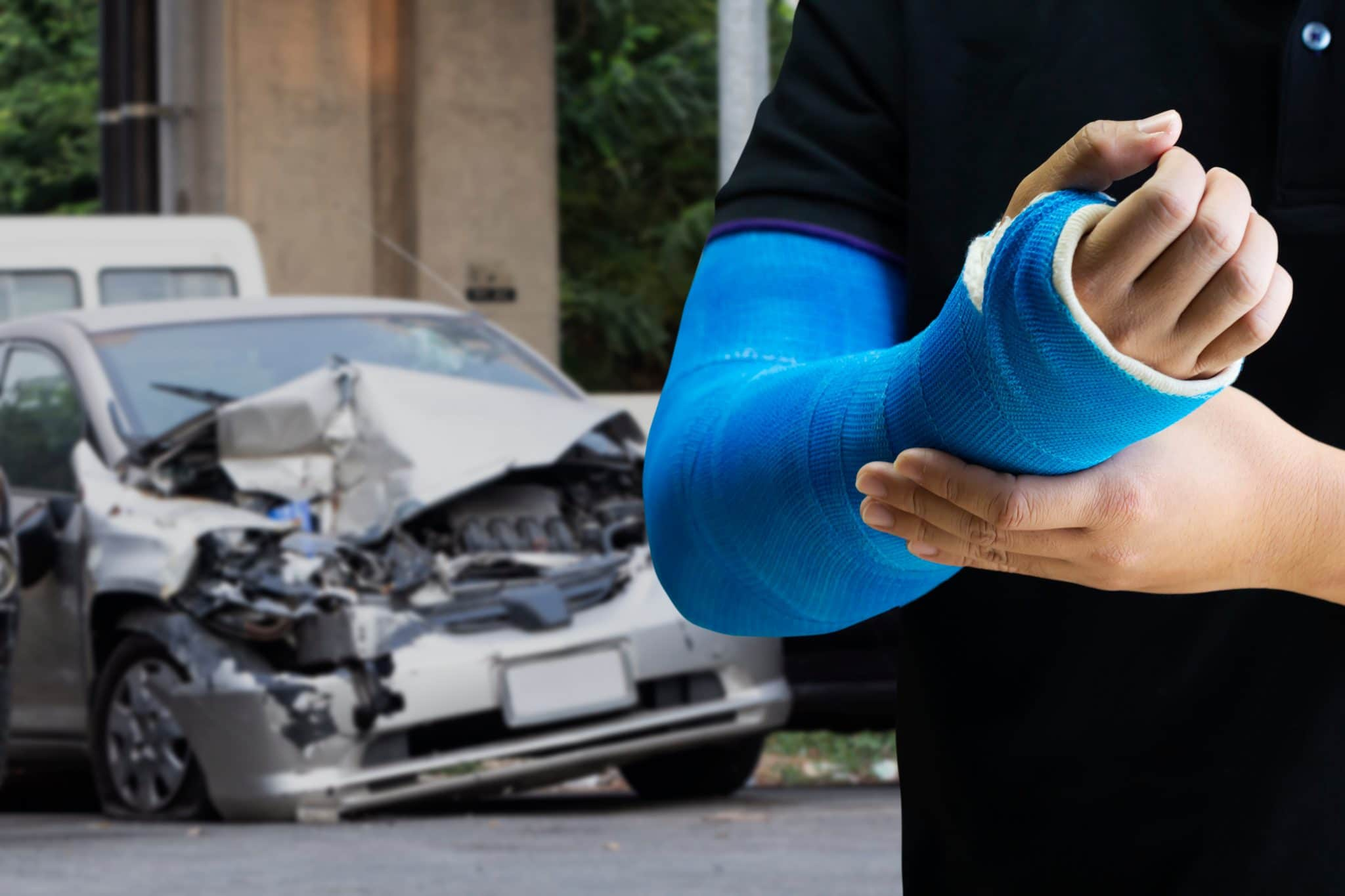 Man suffering from injury from car accident